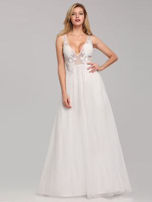 Ever-Pretty Deep V Neck Pretty Wedding Dresses EB07833
