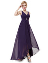Double V-Neck Long Bridesmaid Evening Dresses Eb23899-Dark Purple 1