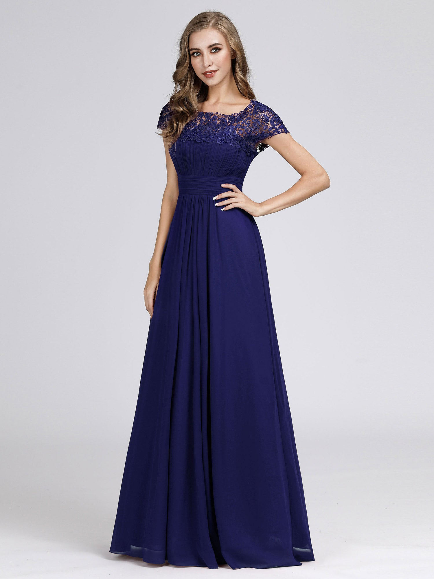 Lacey Neckline Open Back Ruched Bust Evening Dress EB23999 ...