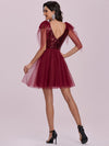 Gorgous Mini Tulle Wholesale Cocktail Dress With Sequin Bodice-Burgundy 3