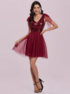 Gorgous Mini Tulle Wholesale Cocktail Dress With Sequin Bodice-Burgundy 4