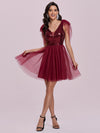 Gorgous Mini Tulle Wholesale Cocktail Dress With Sequin Bodice-Burgundy 1