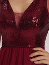 Gorgous Mini Tulle Wholesale Cocktail Dress With Sequin Bodice-Burgundy 5