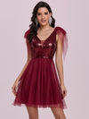Gorgous Mini Tulle Wholesale Cocktail Dress With Sequin Bodice-Burgundy 2