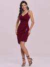 Casual Knee-Length Wholesale Evening Dress With Sequin Hem-Burgundy 3