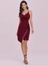 Casual Knee-Length Wholesale Evening Dress With Sequin Hem-Burgundy 4