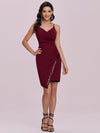 Casual Knee-Length Wholesale Evening Dress With Sequin Hem-Burgundy 1