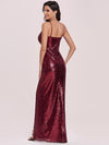 Hot V Neck Side Ruched Mermaid Wholesale Sequin Evening Dress-Burgundy 2