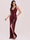 Hot V Neck Side Ruched Mermaid Wholesale Sequin Evening Dress-Burgundy 4
