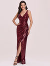 Hot V Neck Side Ruched Mermaid Wholesale Sequin Evening Dress-Burgundy 1