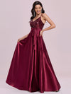 Shiny Wholesale Maxi Satin Evening Dress With Sequin Bodice-Burgundy 4