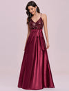 Shiny Wholesale Maxi Satin Evening Dress With Sequin Bodice-Burgundy 2