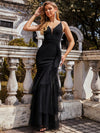 Simple Mermaid Evening Dress With Tulle Ruffled Hem-Black 1
