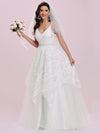 Romantic Wholesale Lace & Tulle Sleeveless Wedding Dress-Cream 1