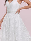 Romantic Wholesale Lace & Tulle Sleeveless Wedding Dress-Cream 5