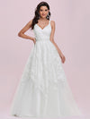 Romantic Wholesale Lace & Tulle Sleeveless Wedding Dress-Cream 2
