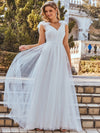 Plain Double V Neck Wholesale Lace Bodice Sleeveless Wedding Dress-Cream 7