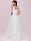 Plain Double V Neck Wholesale Lace Bodice Sleeveless Wedding Dress-Cream 2