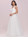 Plain Double V Neck Wholesale Lace Bodice Sleeveless Wedding Dress-Cream 4