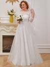 Wholesale A-Line Plus Size Tulle Wedding Dress With Lace-Cream 1