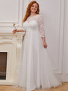Wholesale A-Line Plus Size Tulle Wedding Dress With Lace-Cream 4