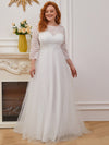 Wholesale A-Line Plus Size Tulle Wedding Dress With Lace-Cream 2