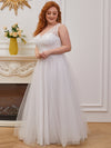 Sweet A-Line Tulle Wholesale Wedding Dress With Appliqued Bodice-Cream 3