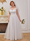 Sweet A-Line Tulle Wholesale Wedding Dress With Appliqued Bodice-Cream 1