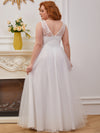 Sweet A-Line Tulle Wholesale Wedding Dress With Appliqued Bodice-Cream 4
