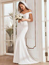 Plain Wholesale Solid Color Off Shoulder Mermaid Wedding Dress-Cream 6