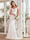 Plain Wholesale Solid Color Off Shoulder Mermaid Wedding Dress-Cream 7