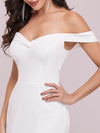Plain Wholesale Solid Color Off Shoulder Mermaid Wedding Dress-Cream 5