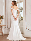 Plain Wholesale Solid Color Off Shoulder Mermaid Wedding Dress-Cream 8
