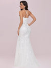 Wholesale Halter Maxi Lace & Tulle Fishtail Wedding Dress-Cream 3