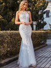 Wholesale Halter Maxi Lace & Tulle Fishtail Wedding Dress
