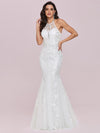 Wholesale Halter Maxi Lace & Tulle Fishtail Wedding Dress-Cream 2