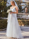Fashionable High Waist Wholesale Wedding Dress With Spaghetti Straps-Cream 1