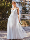 Fashionable High Waist Wholesale Wedding Dress With Spaghetti Straps-Cream 5