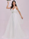 Fashionable High Waist Wholesale Wedding Dress With Spaghetti Straps-Cream 6