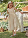 Sweet Round Neck Sleeveless Tulle & Sequin Wholesale Flower Girl Dress-Blush 6