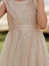 Sweet Round Neck Sleeveless Tulle & Sequin Wholesale Flower Girl Dress-Blush 8
