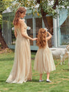 Sweet Round Neck Sleeveless Tulle & Sequin Wholesale Flower Girl Dress-Blush 7