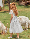 Fancy Round Neck Wholesale Tulle Flower Girl Dress With Sequin-White 4