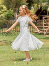 Fancy Round Neck Wholesale Tulle Flower Girl Dress With Sequin-White 6