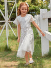 Fancy Round Neck Wholesale Tulle Flower Girl Dress With Sequin-White 3