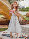 Fancy Round Neck Wholesale Tulle Flower Girl Dress With Sequin-White 1