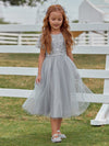 Cute A-Line Round Neck Tulle Wholesale Flower Girl Dress With Sequin-Grey 4