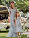 Cute A-Line Round Neck Tulle Wholesale Flower Girl Dress With Sequin-Grey 3