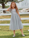 Cute A-Line Round Neck Tulle Wholesale Flower Girl Dress With Sequin-Grey 2