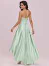 Fashion Wholesale Halter Open Back High Low Bridesmaid Dress-Mint Green 2